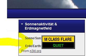 Anzeige der Sonneneruptionen und Stürme im Erdmagnetfeld auf 2012-Insider